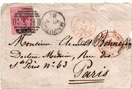Mauritius 1880 Maurice - Cachet Entrée En France Poss. An Paq Fr. T N°1 - !!!! Devant De Lettre Seul - Marcofilia (sobres)