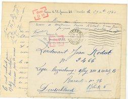 LOIRE INFERIEURE LAC 1940 NANTES RP => CAMP PRISONNIERS OFLAG XIIIA = HAMMELBURG NUREMBERG PAPIER PRIVE AUTORISE JUSQU'A - Marcophilie (Lettres)