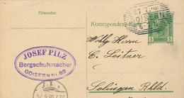 "Ganzsache Goisern 27.7.1897 Josef Pilz Bergschuhmacher ""Goisara"" Nach Solingen - 1850-1918 Empire"