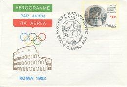 ITALIA - AEROGRAMMA 1982 - COMITATO OLIMPICO A ROMA - ANNULLO SPECIALE FDC - 6. 1946-.. Repubblica