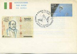 ITALIA - AEROGRAMMA 1992 - LANCIO SATELLITE TETHERED - FDC - ANNULLO SPECIALE ROMA - 6. 1946-.. Repubblica