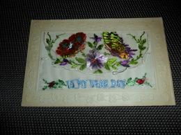 Carte Brodée ( 136 )  Geborduurde Kaart  Carte Enveloppe   To My Dear Boy   Papillon  Vlinder - Brodées