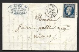 Ardeche-Lettre De Aubenas Pour Nimes-N°14A-1856 - 1849-1876: Période Classique