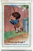 """CPA - Carte Postale - Fantaisie - """"COMIQUE"""" Séries - L'Amour Ne Connait Pas Les Obstacles - 1919 (M7760) - Humour"""