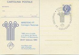 ITALIA - INTERO POSTALE 1980 - CONVEGNO SERVIZI POSTALI E BANCOPOSTA - FDC - 6. 1946-.. Repubblica
