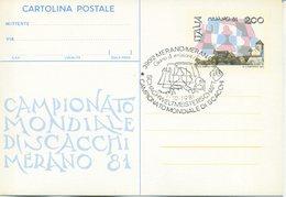 ITALIA - INTERO POSTALE 1981 - MONDIALI DI SCACCHI A MERANO - FDC - 6. 1946-.. Repubblica