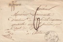 LETTRE. 1841. INDRE. CURSIVE 35/BELABRE. LEBLANC POUR CHATEAUROUX TAXE PLUME 6 - 1801-1848: Précurseurs XIX