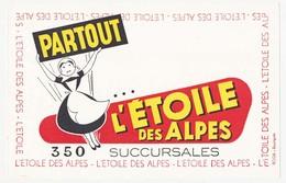 Buvard  21.1 X 13.6 Commerce Alimentaire L'ETOILE DES ALPES 350 Succursales - Alimentaire