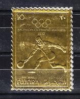 Fujeira - 1972. Tennis. Su Lamina Dorata, Dentellato. On Goldr Foil, Notched. - Tennis