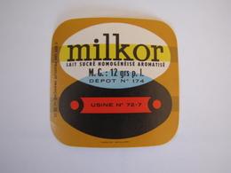 Etiquette De Lait MILKOR Fabriqué Dans La SARTHE 12% - Labels