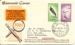 New Zealand Souvenier Cover 21-8-1961 National Philatelic Exhibition Christchurch  BIRD Stamps - Covers & Documents