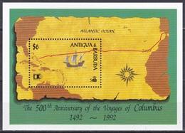 Antigua Barbuda 1992 Geschichte History STAMP EXPO Chicago Antlantik Flotte Kolumbus Columbus Schiffe Ships, Bl. 237 ** - Antigua Y Barbuda (1981-...)