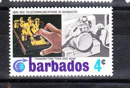 "Barbados - 1972. Trasmissione Telegrafica Morse. Transmission "" Then And Now "". MNH - Telecom"