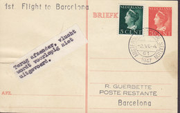 Netherlands Uprated Postal Stationery Ganzsache 1st Flight To BARCELONA, AMSTERDAM CENTRAAL STATION 1947 Card Karte - Ganzsachen