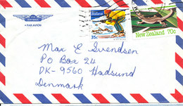 New Zealand Air Mail Cover Sent To Denmark With Topic Stamps - Airmail