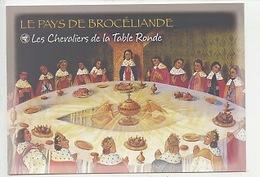 Les Chevaliers De La Table Ronde - Merlin Arthur Pêcheur Brocéliande Paimpont (Histoire N°103 Cp Vierge) - Paimpont
