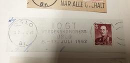 DRUG YOUTH Norway Norge Oslo IOGT Verdens Kongress Mondial Congress 1962 Cancel Cancellation - Infanzia & Giovinezza