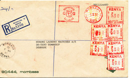 Kenya Registered Cover With Meter Cancels Mombassa 5-3-1991 Sent To Denmark - Kenya (1963-...)