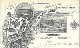 Lettonie Riga/St Petersburg Entête 1895  A.Wolfschmidt. Branntweinbrennere Hefefabrik Spritrectification Und Destillatur - Factures & Documents Commerciaux