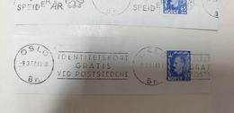 FREE IDENTITY CARD AT THE POST OFFICE Identitetskort Gratis Ved Poststedene Norway Norge Oslo 1957 Cancel Cancellation - Norvegia