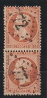 YT 23 Obl 40c Orange, Paire Verticale Avec Piquage Léger, Décalé, B/ST - Frankrijk