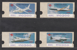 Indonesia ATM Labels, Set Of 4, Aircraft, MNH**, RP300, Machine Number 0001 - Indonesia
