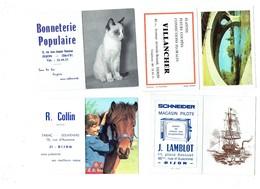 Petit Calendrier LOT 5 DIJON LERAT Auto Radio SCHNEIDER Téléviseur VILLANCHER Fleur COLLIN Tabac Bonneterie Cheval Chat - Calendriers
