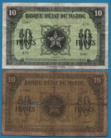 MAROC  LOT 2x 10 Francs  01.05.1943 Serie Z281 - 1944  P# 25  WW II - Marruecos