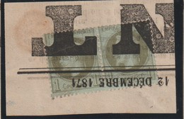 YT 25 Obl 1c Bronze, Paire Oblitération Typographique Des Journaux Sur Fragment, B - France