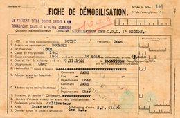 Fiche De Démobilisation; Novembre 1945. Prime De 1.000 Francs. Bourges. Infanterie. 2 Scans. - Documents