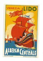 OLD ORIGINAL LUGGAGE LABEL HOTEL VENEZIA LIDO ALBERGO CENTRALE - ITALY - RARE - Hotel Labels
