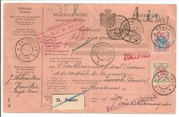 Pakketkaart Bontkraag.Franeker 20.3.03 Grootrond Harlingen-Nieuweschans Leeuwarden-Meppel Zwolle-Zutphen>Zürich Schweiz - Periode 1891-1948 (Wilhelmina)