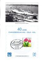 "(Bu-B5) BRD Gedenkblatt ""40 Jahre FÄHRVERBINDUNG KIEL-OSLO-KIEL"" EF Mi 1506 SST 2.5.2001 KIEL 1 - BRD"
