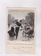 CPA TYPE PAPIER SOIE PEINT , PERSONNES En PATINS A GLACE En 1908! - Other