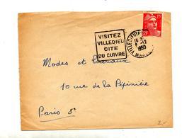 Lettre Flamme Daguin Villedieu Cite Du Cuivre - Marcophilie (Lettres)