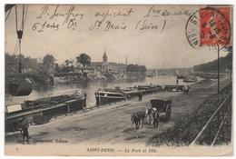 CPA 93 : 7 - SAINT-DENIS - Le Port Et L'Ile - Ed. Grandtrait - 19?? - Péniches - Attelage - Saint Denis