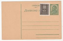 Serbia WWII German Occupation Postal Stationery Postcard Dopisna Karta With Additional Porto Stamp Glued -unused B190310 - Serbie