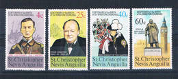 St Kitts-Nevis 290-93 MNH Set Churchill 1974 CV 1.00 (S0885) - St.Kitts And Nevis ( 1983-...)