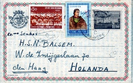 """Portugal 1959 St. Thomas And Prince Islands-Holland """"Cocoa"""" Aerogramme, Uprated Air Letter H&G F7 - St. Thomas & Prince"""