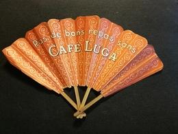 EVENTAIL PUBLICITAIRE ANCIEN - CAFE LUGA  -BOIS ET PAPIER - Publicidad