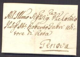 1774 LETTERA PREFILATELIA DA ROMA A GENOVA CON SIGILLO ROSSO - Italia