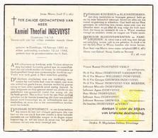 DP Kamiel Th. Indevuyst ° Elverdinge Ieper 1883 † 1948 X Verly / Vandepitte Gruwier Willemet Van Meenen - Devotion Images