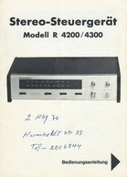 AD230 Anleitung Manual GENERAL Stereo-Steuergerät Modell R 4200 / 4300 - Technical Plans