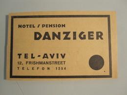ISRAEL PALESTINE PENSION REST HOUSE HOTEL DANZINGER TEL AVIV VINTAGE ADVERTISING DESIGN ORIGINAL - Hotel Labels
