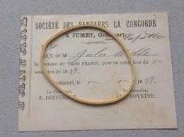 Jumet Reçu Société Des Fanfares La Concorde 1887 - Belgique