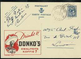 Publibel Obl. N° 1047 ( Drinkt U   DONKO'S Kwaliteits Koffie ?  ) Obl. Roeselare 22/08/52 - Enteros Postales