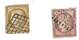 Pour étude Couleur 1 Fr Poste Lilas Non Dentelé Et 10 C Bistre Grille Losange Avec DS2 CF Scan Mauvais état - 1849-1850 Cérès