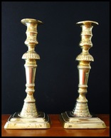 Early - Mid XIX C. English Brass Beehive Candlesticks - Kerzenhalter - Bougeoirs - Bronzes