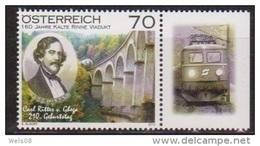 """Österreich 2012: """"Carl Ritter V. Ghega"""" Postfrisch (siehe Foto/Scan) - 1945-.... 2ème République"""