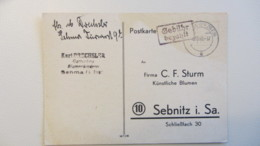OPD:  Karte 08.10.45 Sehma (Erzgeb), R2 Violett Nach Sebnitz I. Sa. (5 Pkte Nach Kopiak/Skupin) Knr: Barfrankatur - Zone Soviétique